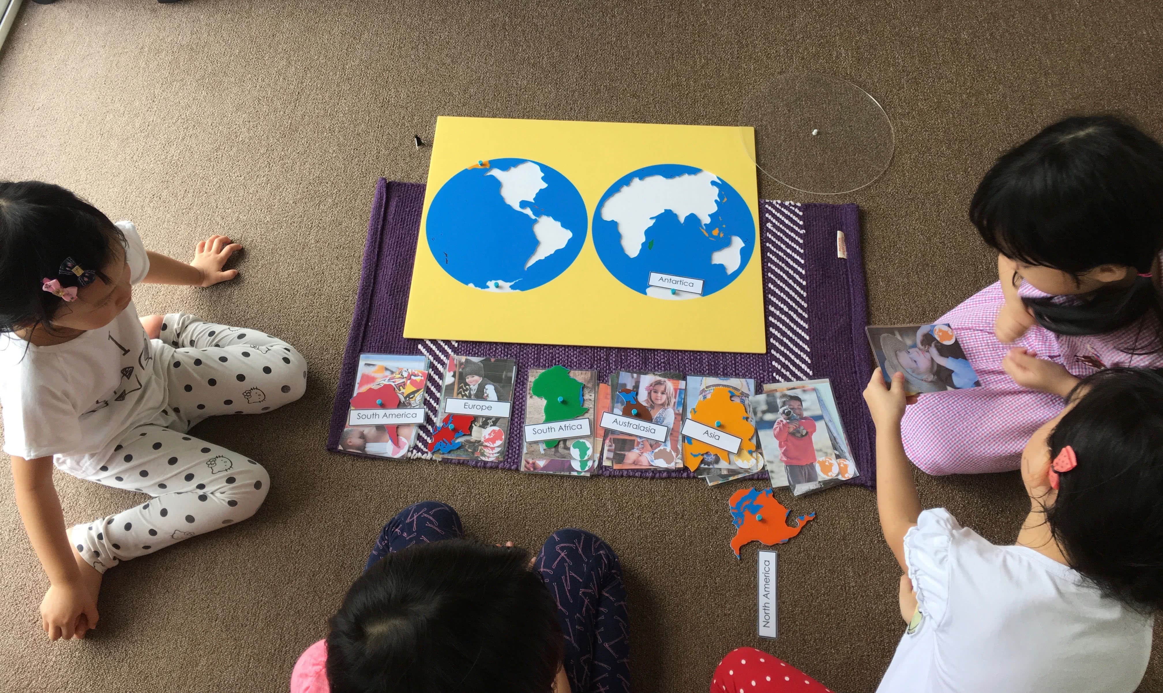 Learning the names of the continents and children of the world using learning the names of the continents and children of the world using montessori jigsaw map puzzle gumiabroncs Images